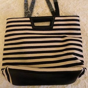 BCBG tote in black and cream strips NWT